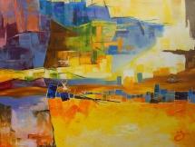 Flucht im Hafen, Acryl auf Keilrahmen, 2012, 80x60