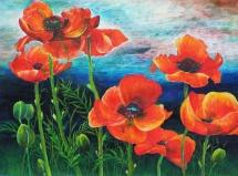 Frühlingsfeuer, Acryl, 1999, 47x35