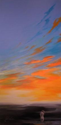 Abends am Meer, Acryl auf Keilrahmen, 2012, 70x140