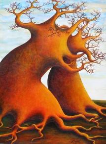Die Seelen der Bäume - X, Acryl, 2005, 30x40, (verkauft)