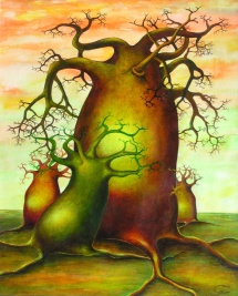 Die Seelen der Bäume - V, Acryl, 2002, 30x40