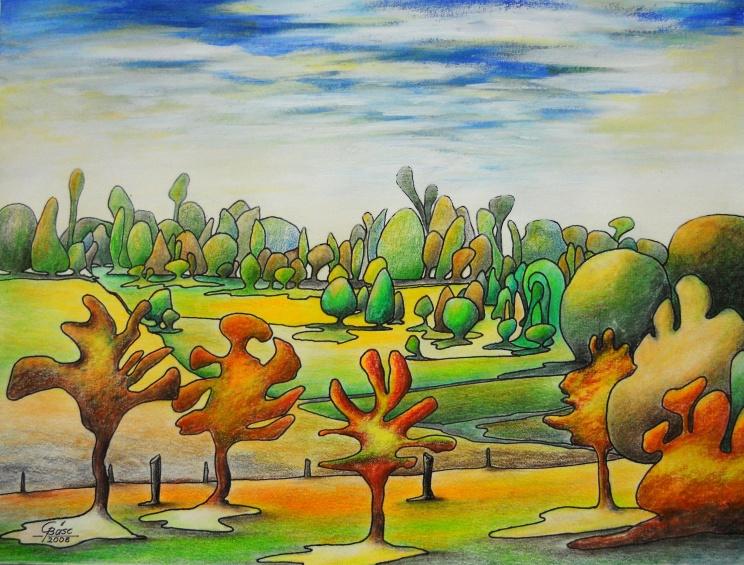 Landschaft in Friedrichsbrunn, Farbstifte, 2008, 42x30